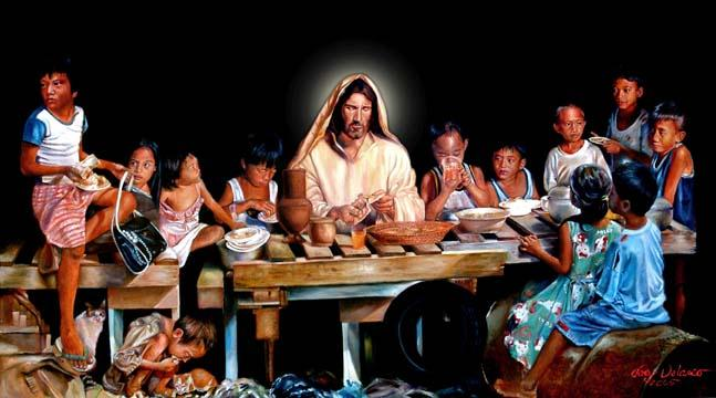 paintings of jesus with children. a painting of hope by Joey